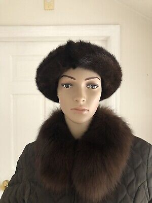 Mitchies Matchings Women's Leather Hat With Real Fur Trim EUC 4