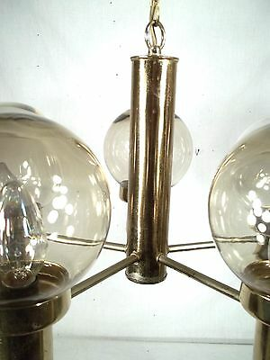 Mid Century Modern 5 Light Brass Chandelier With Tinted Glass Globes 4