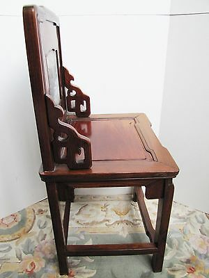 Antique 19th Century Chinese Blackwood and Marble Chair 5