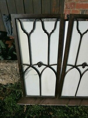Pair of antique Cuban Mahogany astral glazed cupboard doors 4