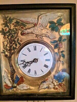 Black Forest French German Eagle picture frame swinger clock Gilded Gold 4