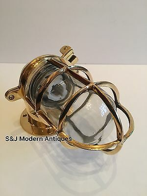 Antique Industrial Wall Light Vintage Cage Bulkhead Gold Brass Ship Lamp Old 4