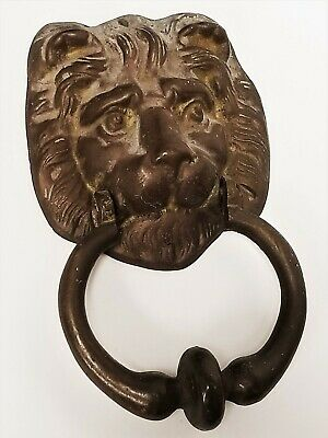 Old Vintage Architectural Solid Lion Head Bronze/ Brass Door Knocker 1lb 11oz 3