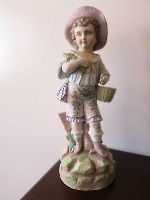 "Antique German  Hand Painted Bisque Rudolstadt Rustic Romantic Figurine 13"" Tall 2"