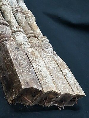 Architectural Salvage 4 Wooden Spindles Balusters 4 Collars & Spiral Center 8