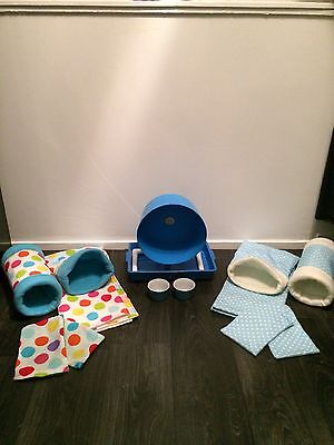 Double Trouble Deluxe hedgehog Starter Set,wheel,tray,bowls,bed,liner, Tunnels. 2