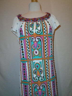 ECI Womans Multi Color Floral Beaded Dress Size 10 2