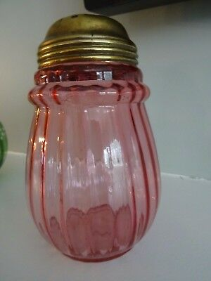 Victorian Northwood Glass AURORA CRANBERRY RIB OPTIC Sugar Shaker Muffineer 2