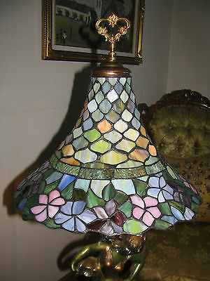 Vtg Deco Victorian Figurine Figural Table Lamp Chandelier Glass Shade Fixture 5