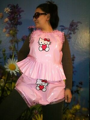 Adult Baby Set Pvc Slips+ Oberteil Gummihose Lack Windelhose Pants Hello Kitty 2