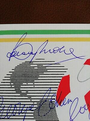 Mexico 86 postal card Autographed By All The 1966 Winning Team. 2