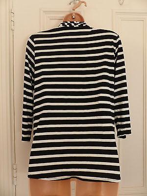 Wallis size 12 black and white striped jersey faux wrap top black vest 11