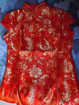 Cheongsam/qipao (Abito rosso e dorato tradizionale cinese) 4
