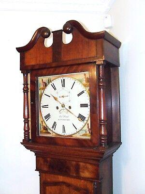 ~ Antique Oak & Mahogany Inlaid Grandfather Longcase Clock : WOOD KNUTSFORD 2