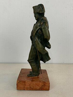 Antiguo 19th Siglo Bronce Napoleon Figura Estatua sobre Rojo Mármol Base 2