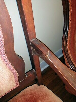Antique Victorian Orange Velvet Eastlake Parlor Settee - LOCAL PICK UP ONLY 6