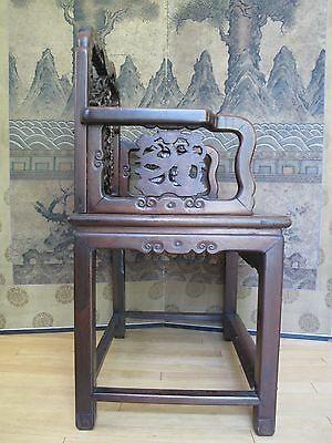Beautiful 18-19th Century Qing Dyn. Chinese Rosewood Mother of Pearl Inlay Chair 2