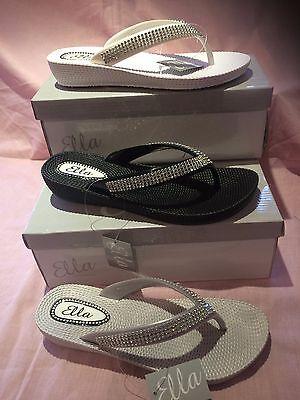 7dddd430d ... S1 Ladies Womens Ella Toe Post Sandals Low Wedge Diamante Flip Flops  Summer Sun 11