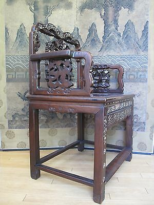 Beautiful 18-19th Century Qing Dyn. Chinese Rosewood Mother of Pearl Inlay Chair 3