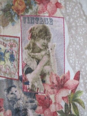 Rare! Vtg 20s Flapper Pinup Lady Kitten Cat Horse Floral Lace Print Mini Dress 9