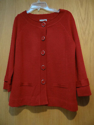 CLASSY Deluxe Amber Sun Brick Rusty Red Lovely XS S Cardigan Sweater NWOT 7