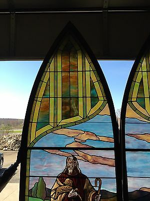 Antique Stained Glass 11 Foot Good Shepherd Window 2