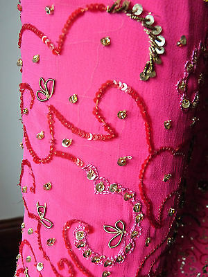 Asian Wedding Cerise Pink & Red Trouser Suit With Scarf   M   Ret £350   Bnwt 7