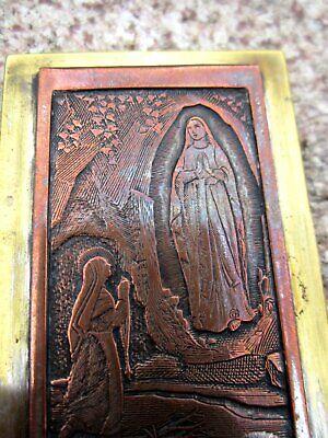 Antiguo Pequeño Imagen Aparición Maria de Lourdes Cobre Latón Plateado Hecho 4