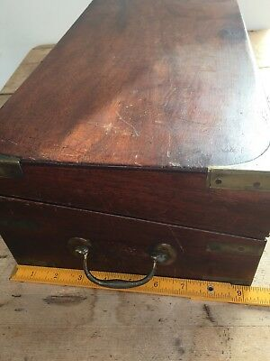 Antique 19Thc  Mahogany Campaign Style Writing Slope /  Box 6