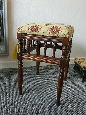 Antique Victorian Mahogany Galleried Piano Stool 7