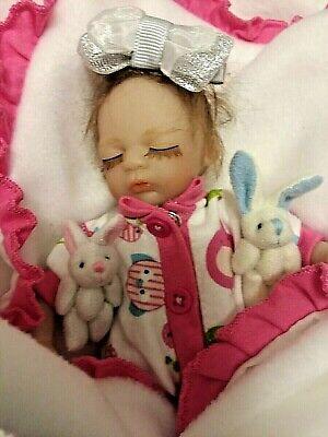 TINY MICRO PREEMIE GIRL   PALM SIZED   8 INCH BABY WITH TINY RABBIT