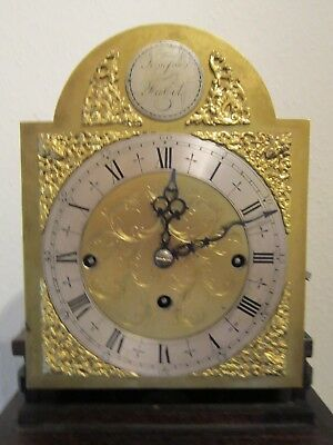 Edwardian period three train weight driven 1/4 striking grandmother clock. 6