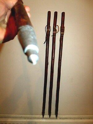 Wooden Walking Stick /Cane Unusual Flamed Carved Chestnut Wood Walking Sticks 3