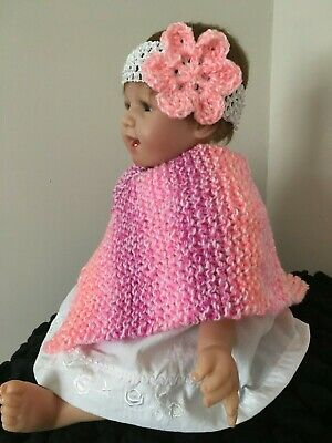 New Hand Knitted Baby Girls 0-3 Months up to 6 Months Poncho Hat and Headband 3