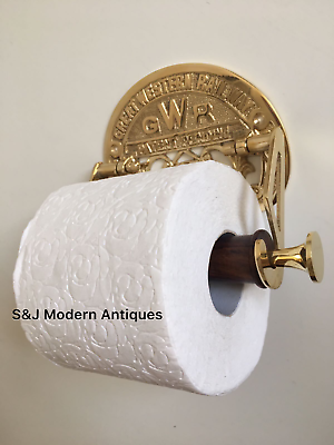 Victorian Toilet Roll Holder Gold Brass Unusual Novelty GWR Vintage Ornate Old 2