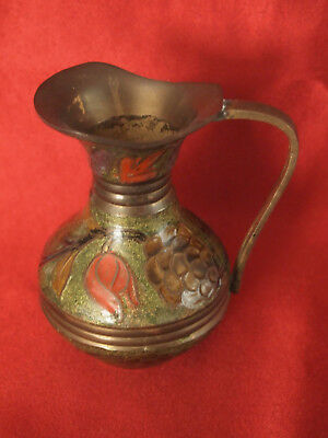 Vtg  Brass Enamel Cloisonne Champleve Small Pitcher Vase 4'' Tall made in India 6
