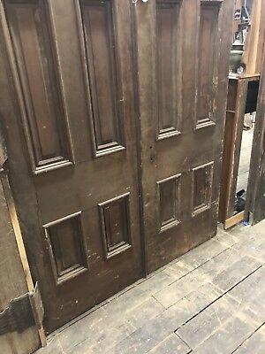 Pair Antique Walnut Entry Doors, 9'Foot Entry Door. Massive Old Door Salvaged d