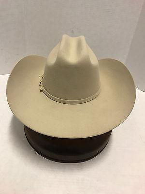 ... Stetson Cowboy Hat 6X Beaver Fur Ivory EL VALIENTE w  Free Hat Brush+No c3bbb0303d1