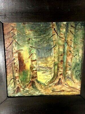 A.E.T. Antique 1920's Hand Painted Forest Scene Arts & Crafts Era Framed Tile 2