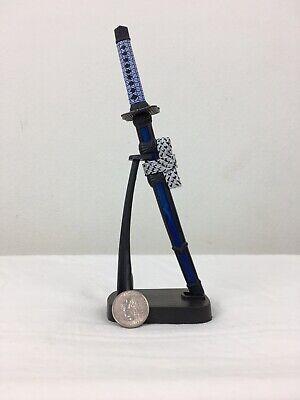 "8"" Japanese Samurai Sabre Sword Stainless Steel Blade Letter Opener W/Stand Blue 4"
