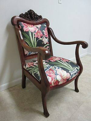Antique Victorian Figural Carved Fireside Lounge Arm Chair 3