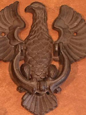 Antique Vintage Cast Iron Eagle American Folk Art Door Knocker 2