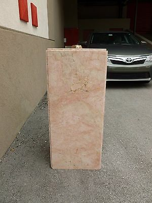Tall Mid Century 70's  Pink Marble Pedestal W Built In Brass Light # 1 - P 6