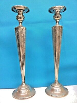 Antique Sterling Silver Candle Holder Height : 14 inches, Pair, PRICE REDUCED 12