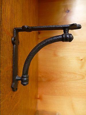 "6 BROWN ANTIQUE-STYLE 5.5"" SHELF BRACKETS CAST IRON rustic garden CURVED ARCH 4"