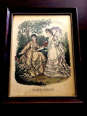 Vintage Victorian Print La Mode Illustree Paris  French Ladies Womens Fashion 5