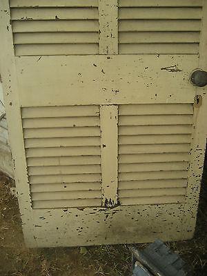 "SOLID - circa 1890 VICTORIAN shutter screen door w louvers 77.5"" x 30"" x 1.25"" 3"