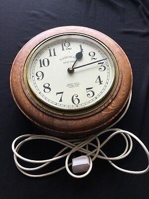 1930s Art Deco Oak Wall Clock Industrial Large Office, Working 12