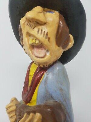 Vintage Gres Divertido Singer Cowboy Equitación Caballo Estatua Decoración Hogar 4
