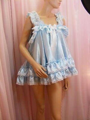 ADULT baby sissy blue satin babydoll negligee nightie dress fancydress unisex 4